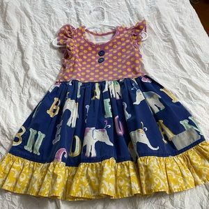 Eleanor Rose dotty elephant twirl dress